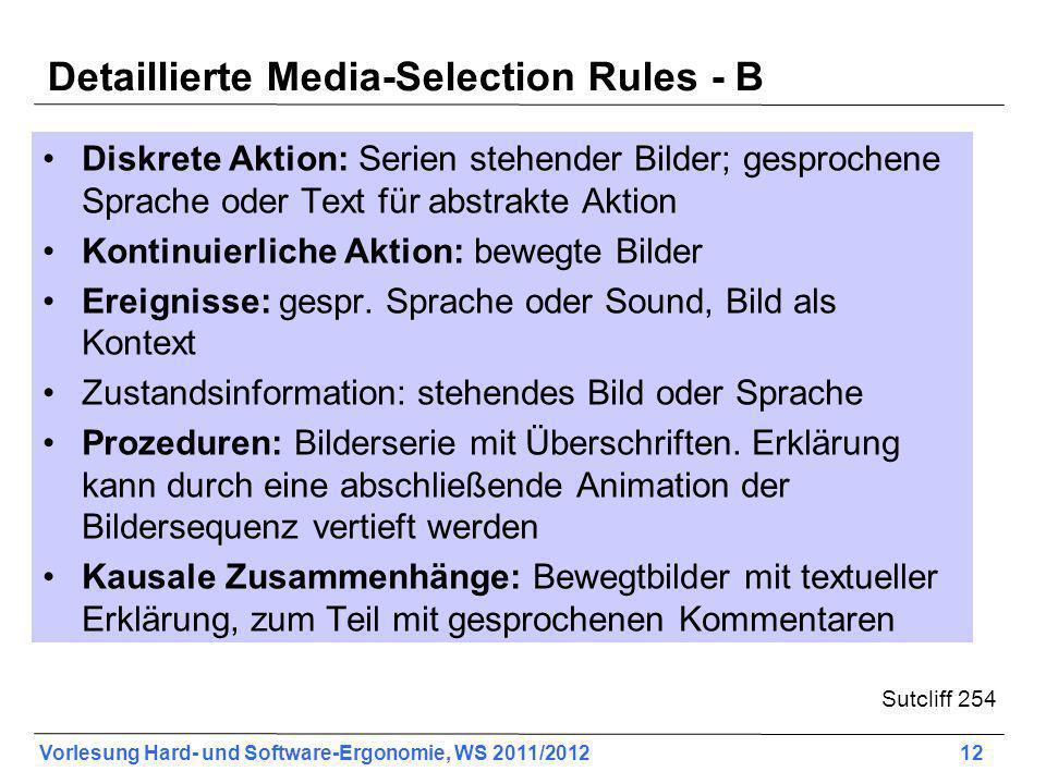 Vorlesung Hard- und Software-Ergonomie, WS 2011/2012 12 Detaillierte Media-Selection Rules - B Diskrete Aktion: Serien stehender Bilder; gesprochene S