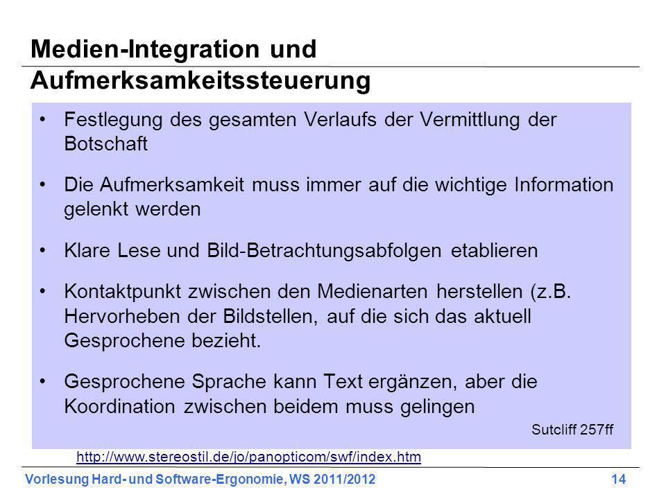 Vorlesung Hard- und Software-Ergonomie, WS 2011/2012 14 Medien-Integration und Aufmerksamkeitssteuerung Festlegung des gesamten Verlaufs der Vermittlu