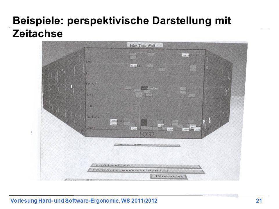 Vorlesung Hard- und Software-Ergonomie, WS 2011/2012 21 Shneiderman, 604, 15-8 Beispiele: perspektivische Darstellung mit Zeitachse