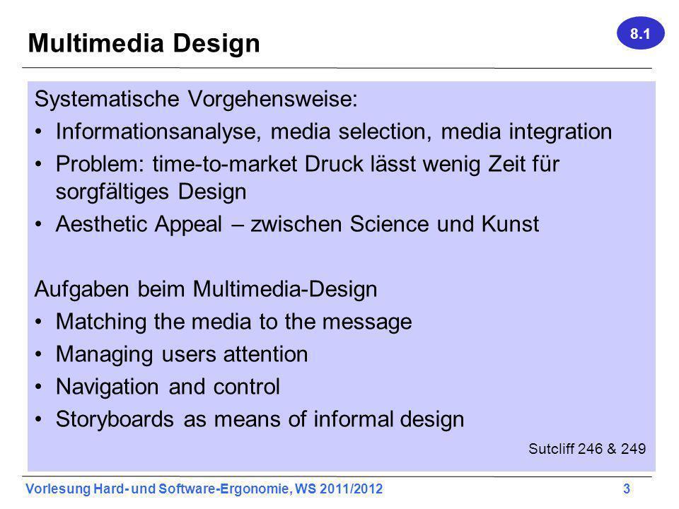 Vorlesung Hard- und Software-Ergonomie, WS 2011/2012 3 Multimedia Design Systematische Vorgehensweise: Informationsanalyse, media selection, media int