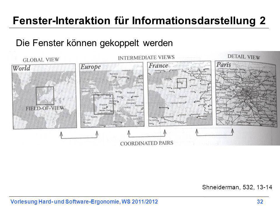 Vorlesung Hard- und Software-Ergonomie, WS 2011/2012 32 Fenster-Interaktion für Informationsdarstellung 2 Die Fenster können gekoppelt werden Shneiderman, 532, 13-14