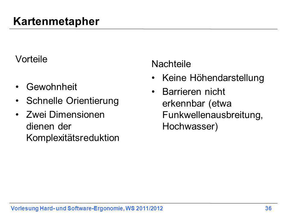 Vorlesung Hard- und Software-Ergonomie, WS 2011/2012 36 Kartenmetapher Vorteile Gewohnheit Schnelle Orientierung Zwei Dimensionen dienen der Komplexit