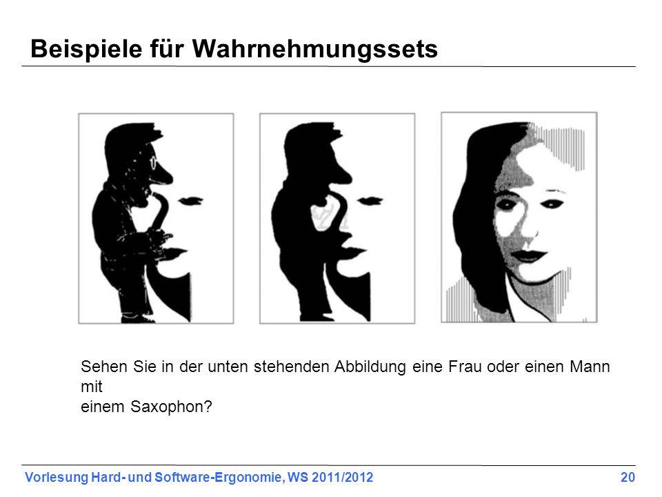 Vorlesung Hard- und Software-Ergonomie, WS 2011/2012 20 Beispiele für Wahrnehmungssets Sehen Sie in der unten stehenden Abbildung eine Frau oder einen Mann mit einem Saxophon?