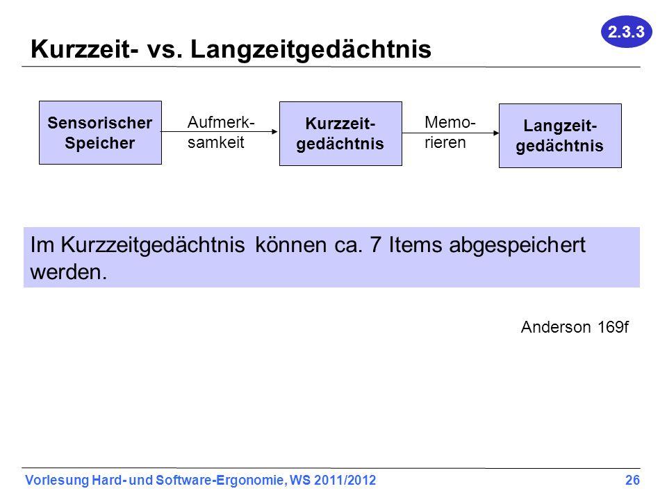 Vorlesung Hard- und Software-Ergonomie, WS 2011/2012 26 Kurzzeit- vs. Langzeitgedächtnis Sensorischer Speicher Kurzzeit- gedächtnis Langzeit- gedächtn