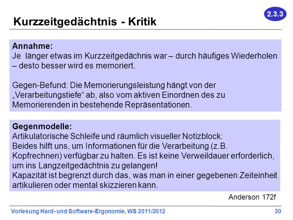 Vorlesung Hard- und Software-Ergonomie, WS 2011/2012 30 Kurzzeitgedächtnis - Kritik Annahme: Je länger etwas im Kurzzeitgedächnis war – durch häufiges Wiederholen – desto besser wird es memoriert.