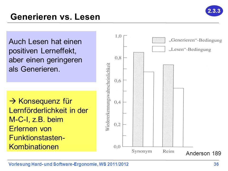 Vorlesung Hard- und Software-Ergonomie, WS 2011/2012 36 Generieren vs. Lesen Auch Lesen hat einen positiven Lerneffekt, aber einen geringeren als Gene
