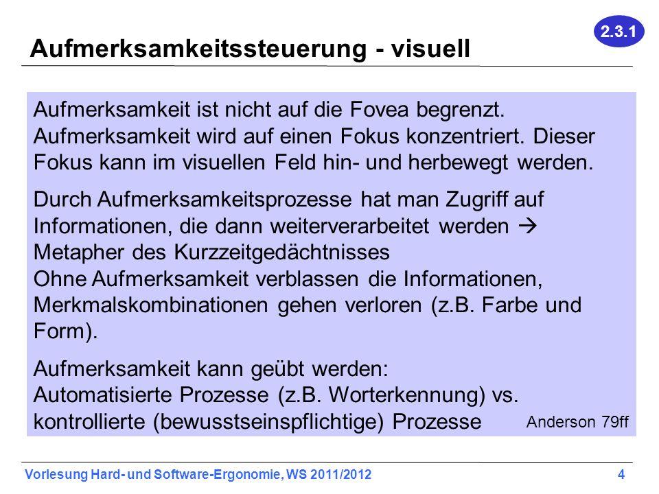 Vorlesung Hard- und Software-Ergonomie, WS 2011/2012 4 Aufmerksamkeitssteuerung - visuell Aufmerksamkeit ist nicht auf die Fovea begrenzt. Aufmerksamk