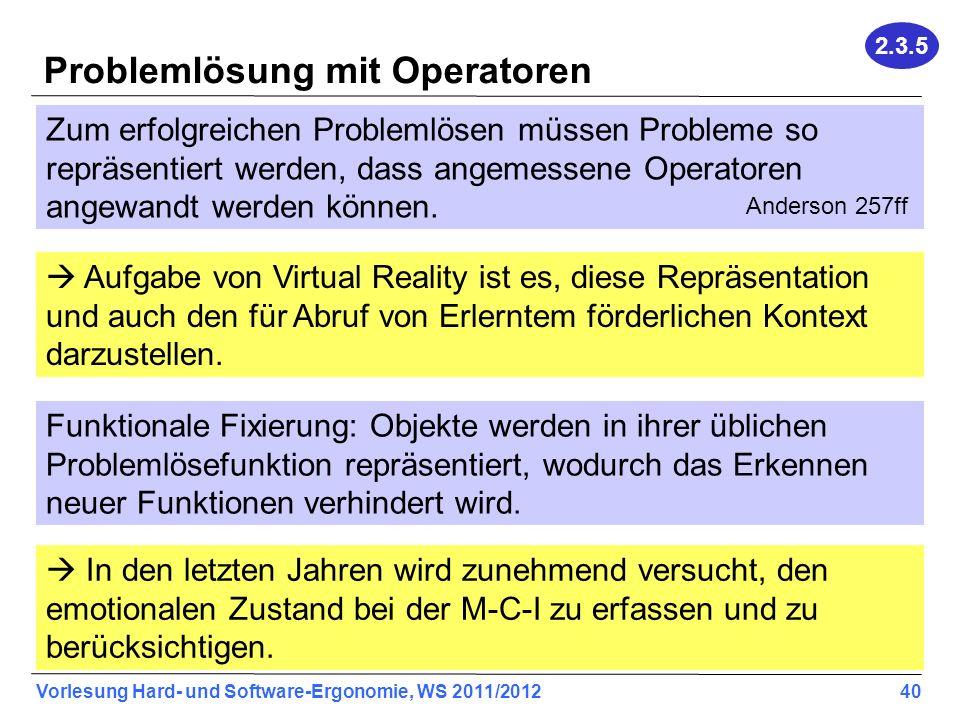 Vorlesung Hard- und Software-Ergonomie, WS 2011/2012 40 Problemlösung mit Operatoren Zum erfolgreichen Problemlösen müssen Probleme so repräsentiert werden, dass angemessene Operatoren angewandt werden können.