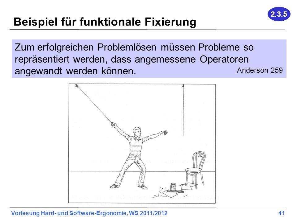 Vorlesung Hard- und Software-Ergonomie, WS 2011/2012 41 Beispiel für funktionale Fixierung Zum erfolgreichen Problemlösen müssen Probleme so repräsentiert werden, dass angemessene Operatoren angewandt werden können.