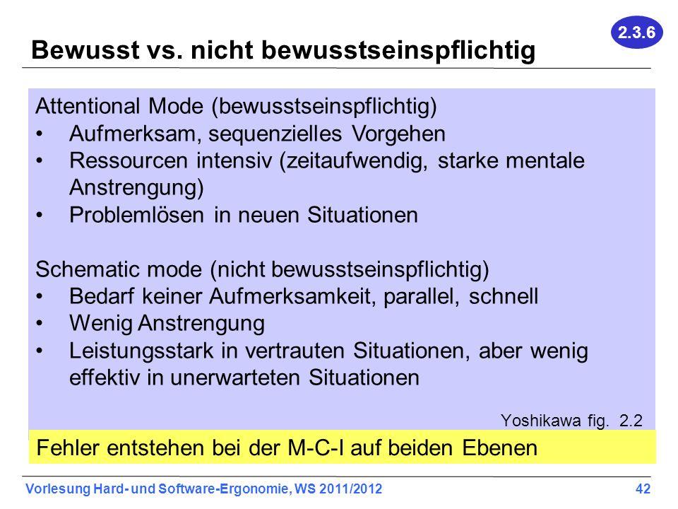 Vorlesung Hard- und Software-Ergonomie, WS 2011/2012 42 Bewusst vs. nicht bewusstseinspflichtig Attentional Mode (bewusstseinspflichtig) Aufmerksam, s