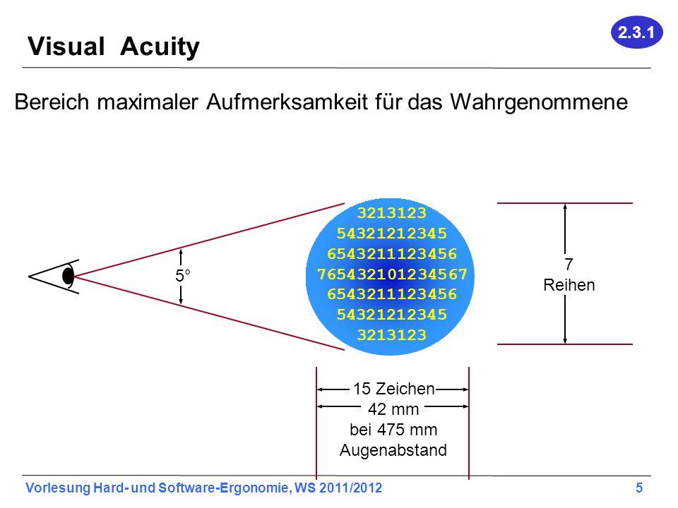 Vorlesung Hard- und Software-Ergonomie, WS 2011/2012 5 Visual Acuity Bereich maximaler Aufmerksamkeit für das Wahrgenommene 3213123 54321212345 6543211123456 765432101234567 6543211123456 54321212345 3213123 15 Zeichen 42 mm bei 475 mm Augenabstand 5° 7 Reihen 2.3.1