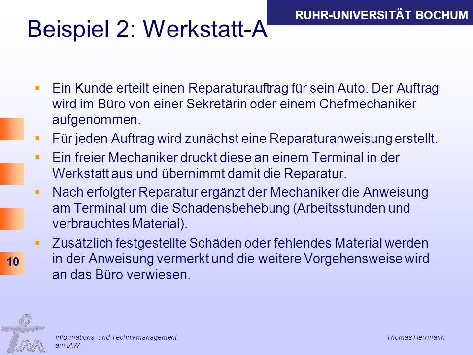 RUHR-UNIVERSITÄT BOCHUM 10 Beispiel 2: Werkstatt-A Ein Kunde erteilt einen Reparaturauftrag für sein Auto. Der Auftrag wird im Büro von einer Sekretär
