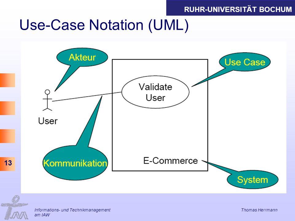 RUHR-UNIVERSITÄT BOCHUM 13 Use-Case Notation (UML) Informations- und Technikmanagement Thomas Herrmann am IAW