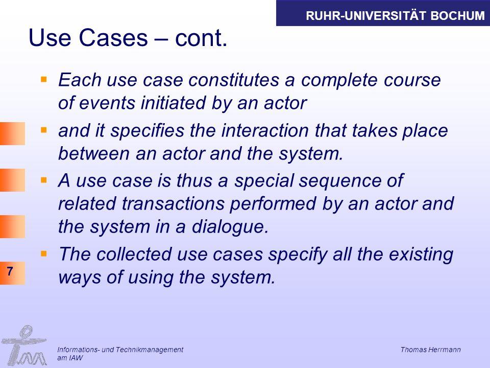 RUHR-UNIVERSITÄT BOCHUM 8 Informations- und Technikmanagement Thomas Herrmann am IAW Beispiel: Banksystem- freier Text