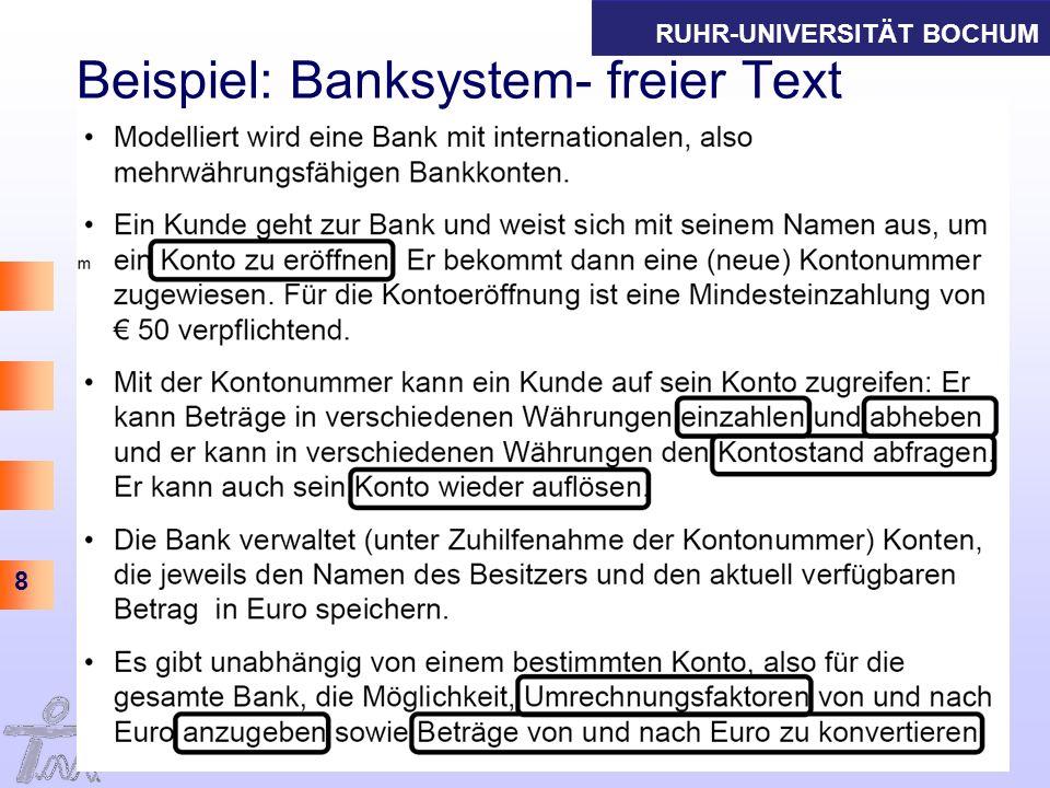 RUHR-UNIVERSITÄT BOCHUM 9 Informations- und Technikmanagement Thomas Herrmann am IAW Beispiel: Banksystem- Diagramm