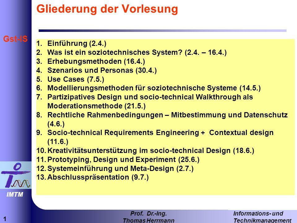 1 Informations- und Technikmanagement Prof. Dr.-Ing.