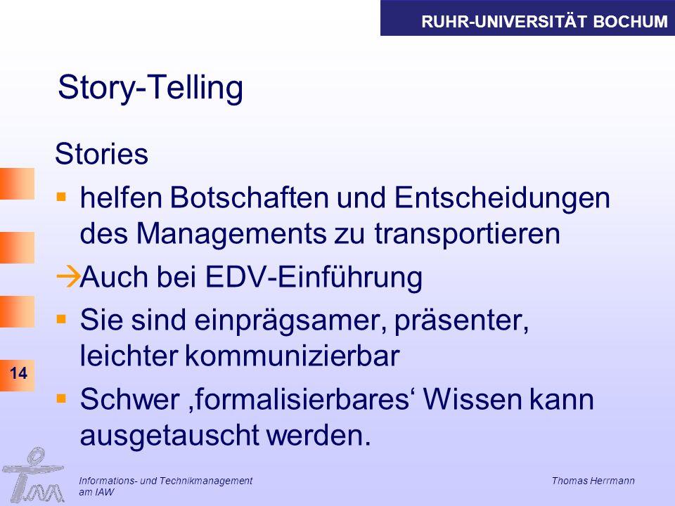 RUHR-UNIVERSITÄT BOCHUM 14 Story-Telling Stories helfen Botschaften und Entscheidungen des Managements zu transportieren Auch bei EDV-Einführung Sie sind einprägsamer, präsenter, leichter kommunizierbar Schwer formalisierbares Wissen kann ausgetauscht werden.