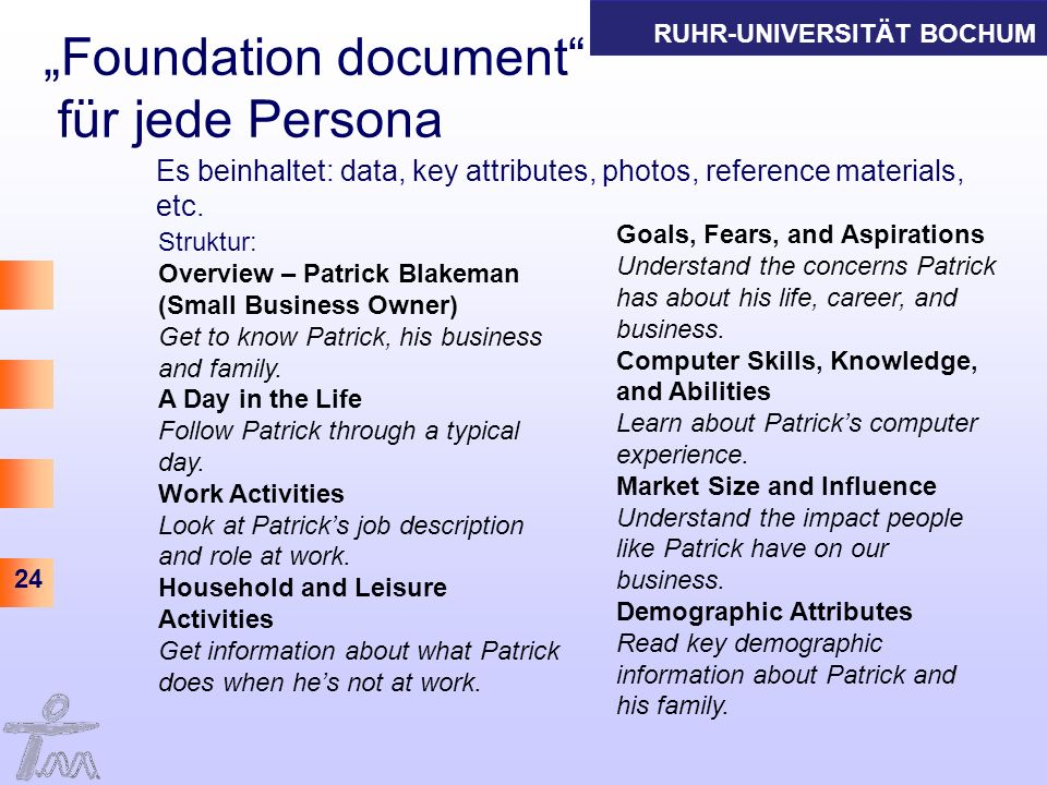 RUHR-UNIVERSITÄT BOCHUM 24 Foundation document für jede Persona Es beinhaltet: data, key attributes, photos, reference materials, etc.