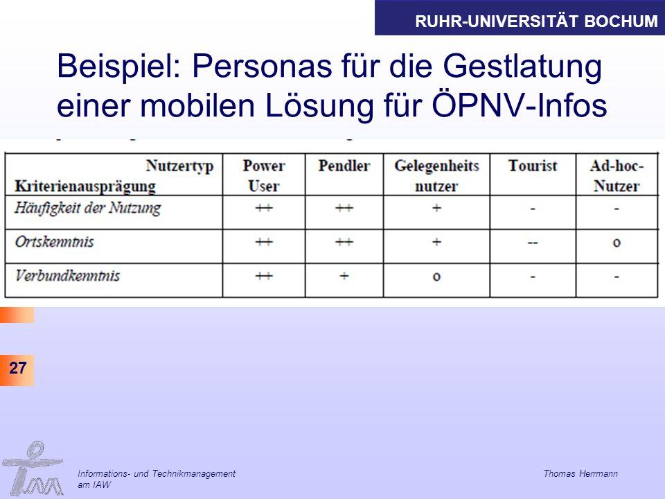 RUHR-UNIVERSITÄT BOCHUM 27 Beispiel: Personas für die Gestlatung einer mobilen Lösung für ÖPNV-Infos Informations- und Technikmanagement Thomas Herrmann am IAW