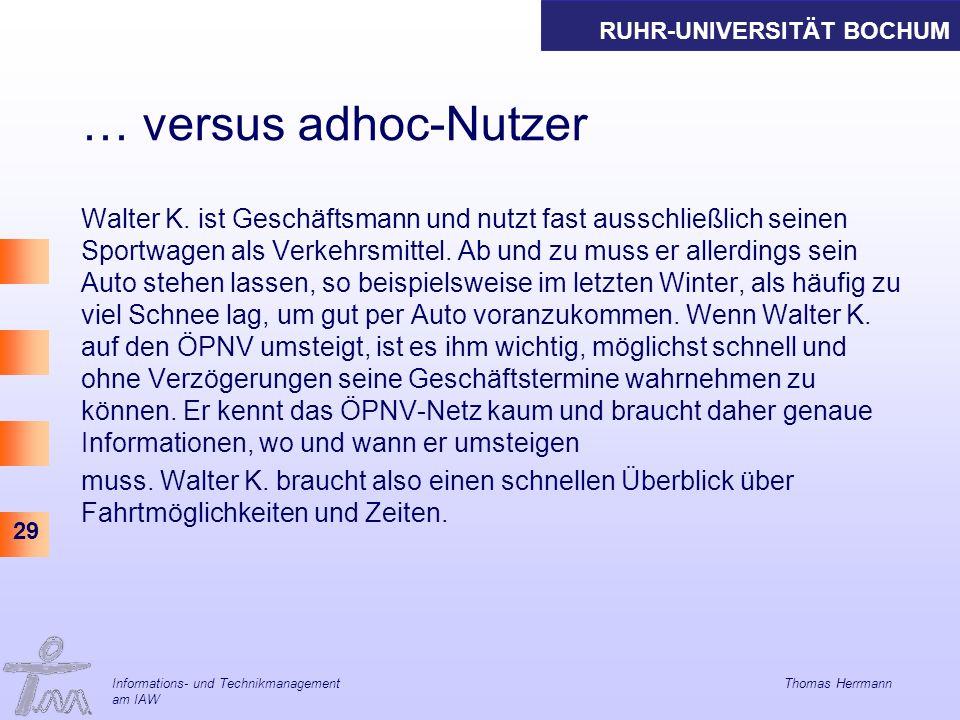 RUHR-UNIVERSITÄT BOCHUM 29 … versus adhoc-Nutzer Walter K.