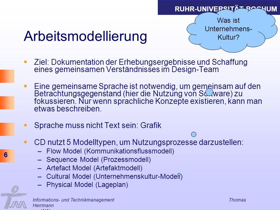 RUHR-UNIVERSITÄT BOCHUM 6 Informations- und Technikmanagement Thomas Herrmann am IAW Arbeitsmodellierung Ziel: Dokumentation der Erhebungsergebnisse u