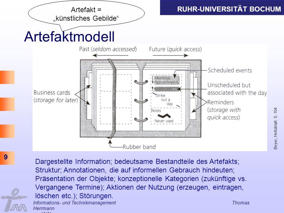 RUHR-UNIVERSITÄT BOCHUM 9 Informations- und Technikmanagement Thomas Herrmann am IAW Artefaktmodell Beyer, Holtzblatt: S. 104 Dargestellte Information