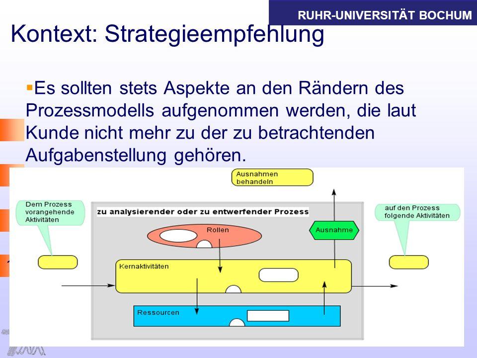 RUHR-UNIVERSITÄT BOCHUM 15 Kontext: Strategieempfehlung Es sollten stets Aspekte an den Rändern des Prozessmodells aufgenommen werden, die laut Kunde