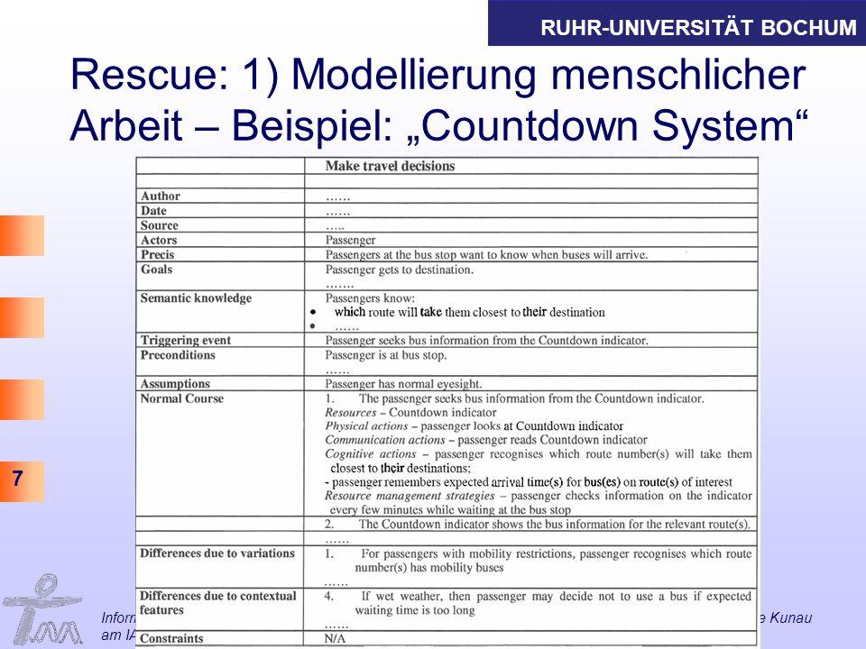 RUHR-UNIVERSITÄT BOCHUM 7 Rescue: 1) Modellierung menschlicher Arbeit – Beispiel: Countdown System Informations- und Technikmanagement Thomas Herrmann