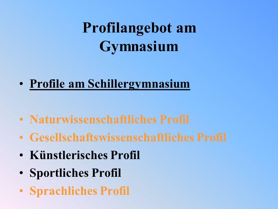 Profilangebot am Gymnasium Profile am Schillergymnasium Naturwissenschaftliches Profil Gesellschaftswissenschaftliches Profil Künstlerisches Profil Sportliches Profil Sprachliches Profil