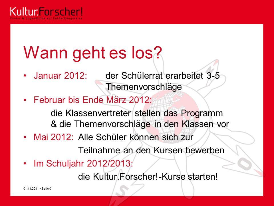 Wann geht es los? Januar 2012: der Schülerrat erarbeitet 3-5 Themenvorschläge Februar bis Ende März 2012: die Klassenvertreter stellen das Programm &