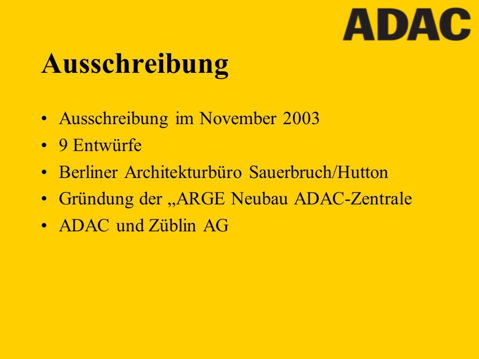 Ausschreibung Ausschreibung im November 2003 9 Entwürfe Berliner Architekturbüro Sauerbruch/Hutton Gründung der ARGE Neubau ADAC-Zentrale ADAC und Züb