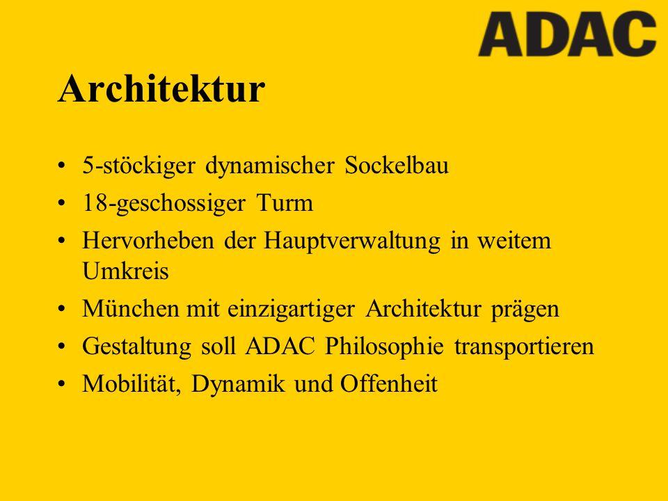 Architektur 5-stöckiger dynamischer Sockelbau 18-geschossiger Turm Hervorheben der Hauptverwaltung in weitem Umkreis München mit einzigartiger Archite