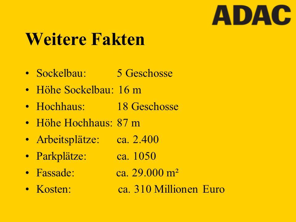 Weitere Fakten Sockelbau: 5 Geschosse Höhe Sockelbau: 16 m Hochhaus: 18 Geschosse Höhe Hochhaus: 87 m Arbeitsplätze: ca. 2.400 Parkplätze: ca. 1050 Fa