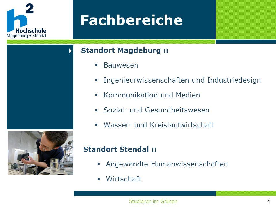Studieren im Grünen4 Standort Magdeburg :: Bauwesen Ingenieurwissenschaften und Industriedesign Kommunikation und Medien Sozial- und Gesundheitswesen