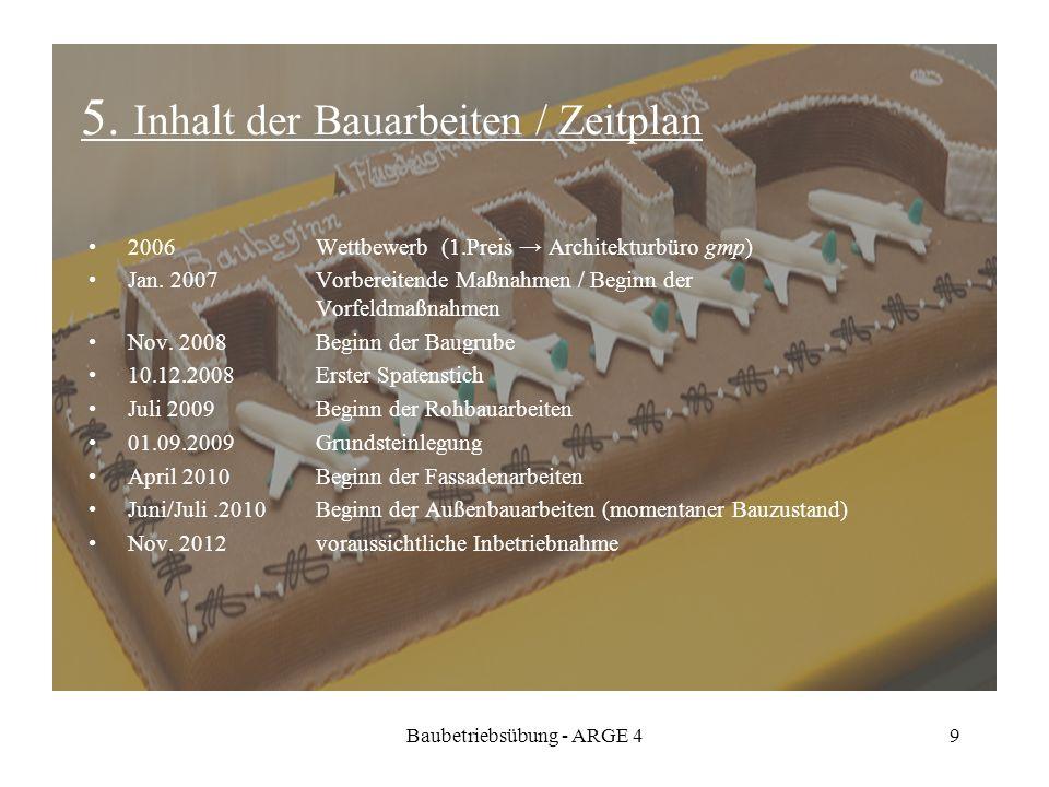 Baubetriebsübung - ARGE 49 5. Inhalt der Bauarbeiten / Zeitplan 2006 Wettbewerb (1.Preis Architekturbüro gmp) Jan. 2007 Vorbereitende Maßnahmen / Begi