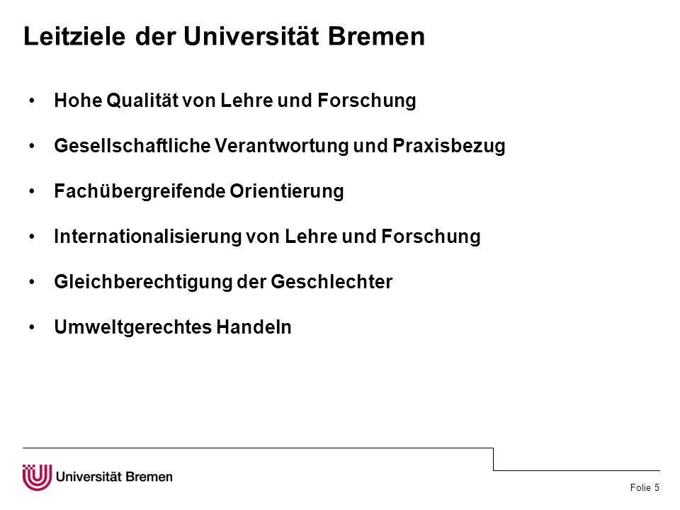 Folie 5 Leitziele der Universität Bremen Hohe Qualität von Lehre und Forschung Gesellschaftliche Verantwortung und Praxisbezug Fachübergreifende Orientierung Internationalisierung von Lehre und Forschung Gleichberechtigung der Geschlechter Umweltgerechtes Handeln