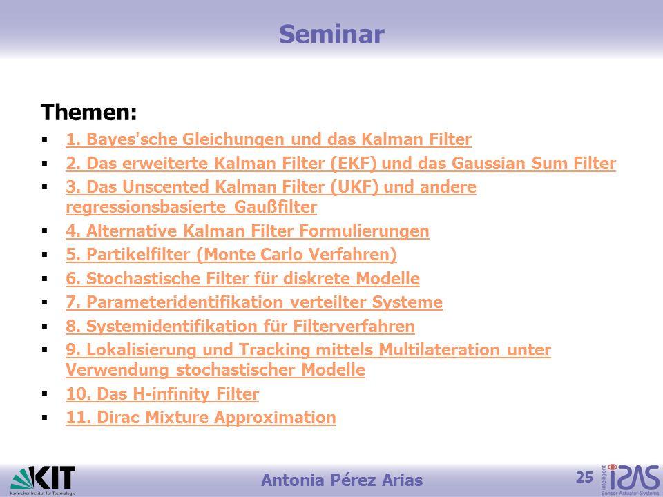 25 Antonia Pérez Arias Themen: 1. Bayes'sche Gleichungen und das Kalman Filter 2. Das erweiterte Kalman Filter (EKF) und das Gaussian Sum Filter 3. Da