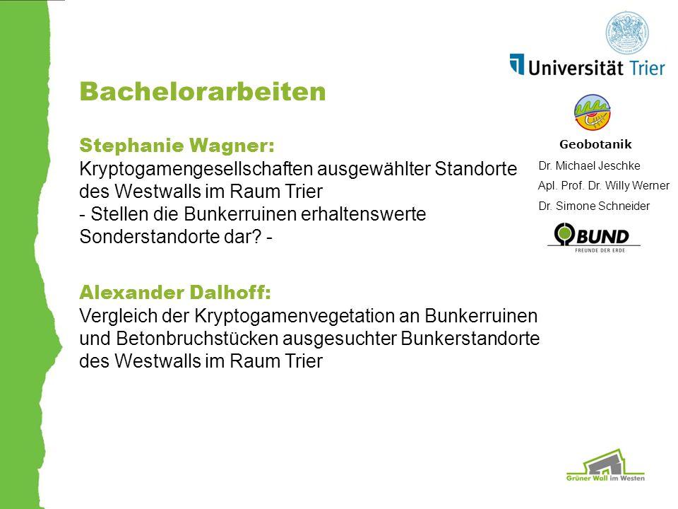 Bachelorarbeiten Geobotanik Dr. Michael Jeschke Apl. Prof. Dr. Willy Werner Dr. Simone Schneider Stephanie Wagner: Kryptogamengesellschaften ausgewähl