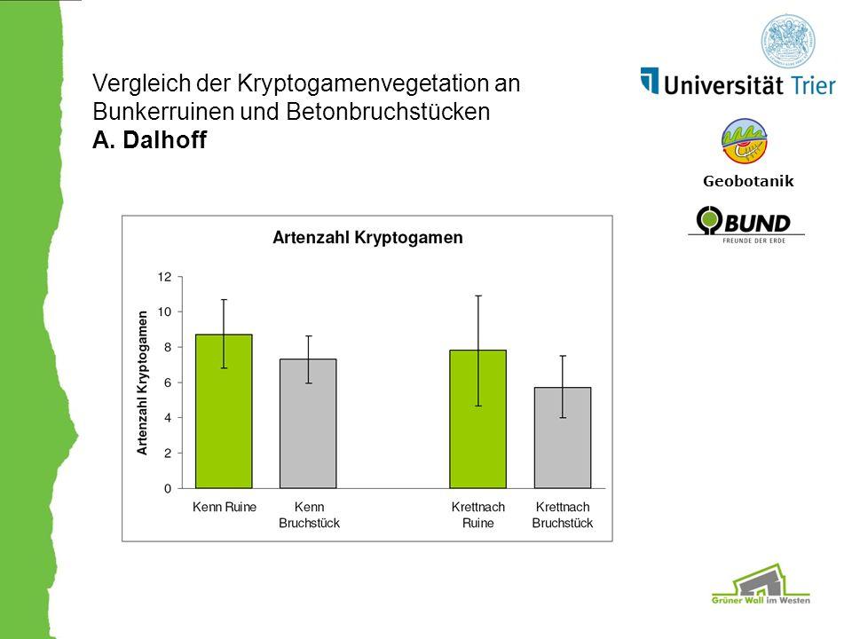 Geobotanik Vergleich der Kryptogamenvegetation an Bunkerruinen und Betonbruchstücken A. Dalhoff