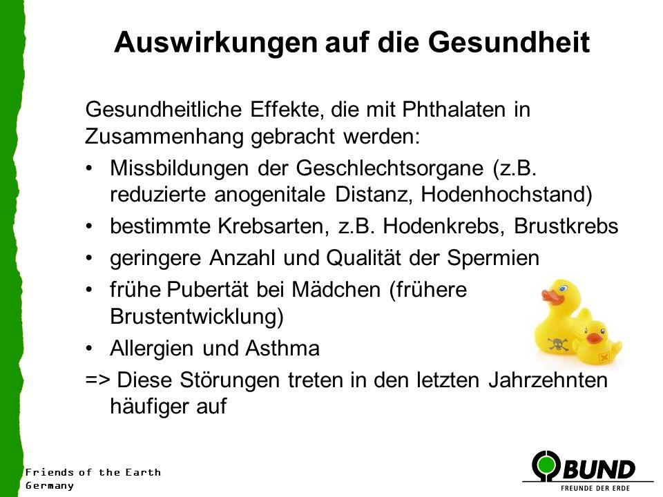 Friends of the Earth Germany Auswirkungen auf die Gesundheit Gesundheitliche Effekte, die mit Phthalaten in Zusammenhang gebracht werden: Missbildungen der Geschlechtsorgane (z.B.