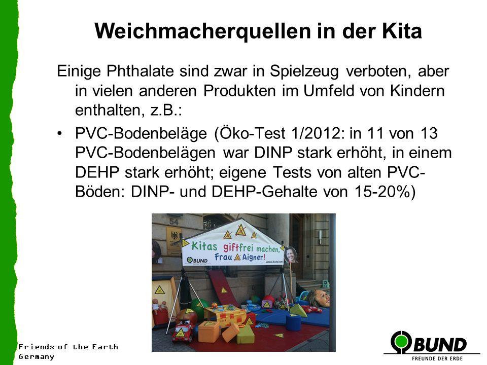 Friends of the Earth Germany Weichmacherquellen in der Kita Einige Phthalate sind zwar in Spielzeug verboten, aber in vielen anderen Produkten im Umfeld von Kindern enthalten, z.B.: PVC-Bodenbeläge (Öko-Test 1/2012: in 11 von 13 PVC-Bodenbelägen war DINP stark erhöht, in einem DEHP stark erhöht; eigene Tests von alten PVC- Böden: DINP- und DEHP-Gehalte von 15-20%)