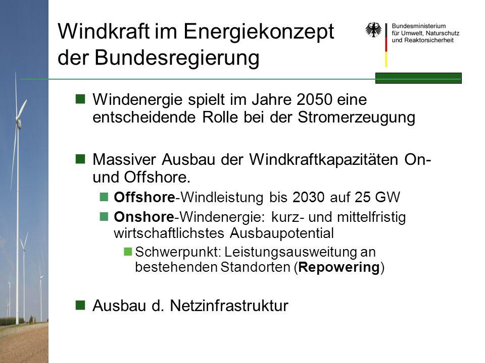 Windkraft im Energiekonzept der Bundesregierung Windenergie spielt im Jahre 2050 eine entscheidende Rolle bei der Stromerzeugung Massiver Ausbau der W