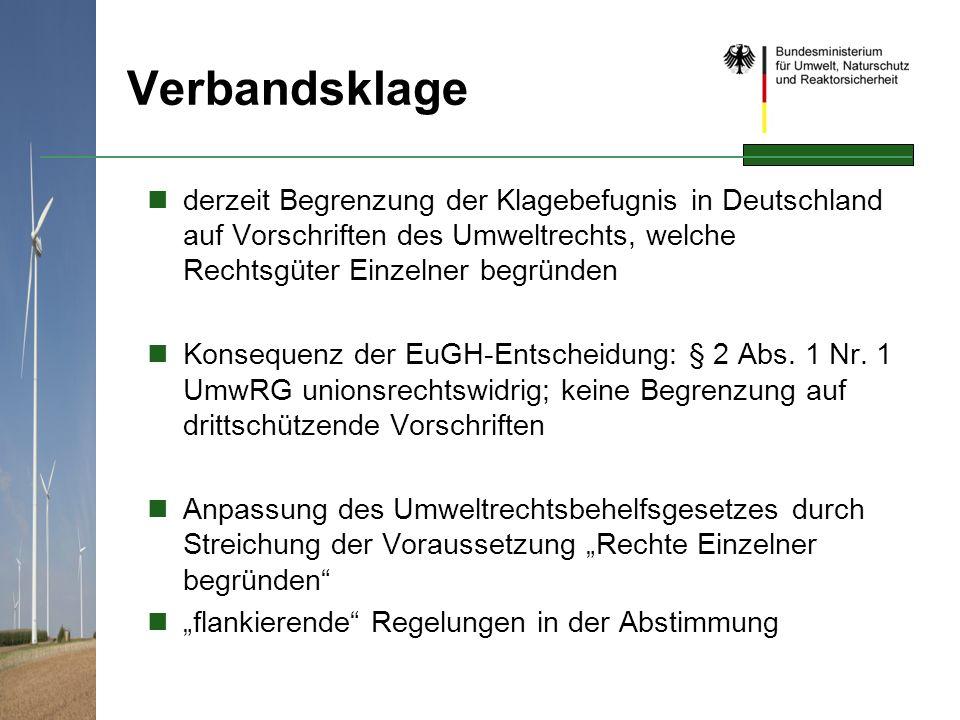 Verbandsklage derzeit Begrenzung der Klagebefugnis in Deutschland auf Vorschriften des Umweltrechts, welche Rechtsgüter Einzelner begründen Konsequenz