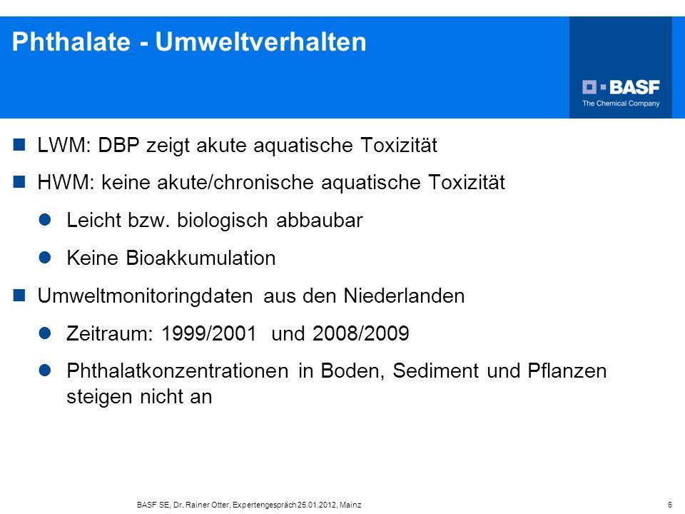 Phthalate - Umweltverhalten LWM: DBP zeigt akute aquatische Toxizität HWM: keine akute/chronische aquatische Toxizität Leicht bzw. biologisch abbaubar