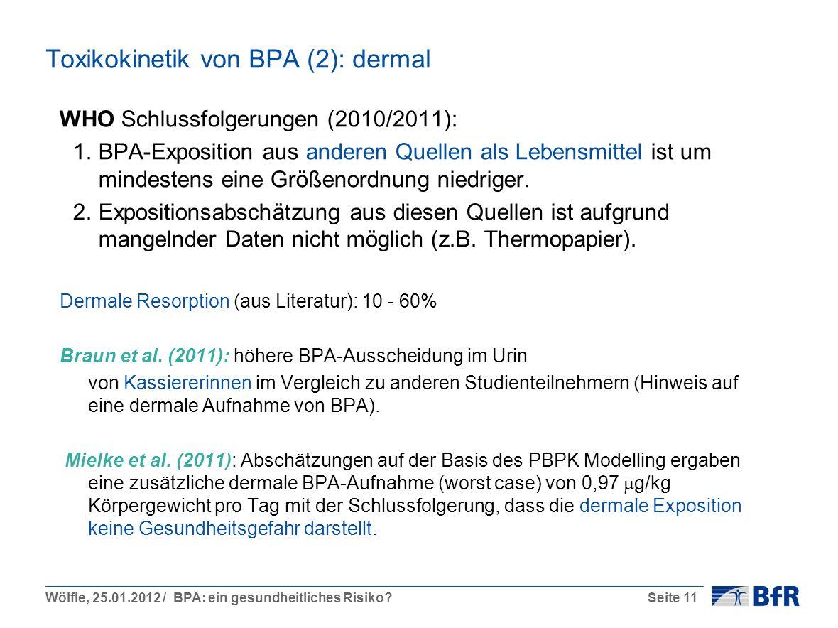 Wölfle, 25.01.2012 / BPA: ein gesundheitliches Risiko?Seite 11 Toxikokinetik von BPA (2): dermal WHO Schlussfolgerungen (2010/2011): 1.BPA-Exposition aus anderen Quellen als Lebensmittel ist um mindestens eine Größenordnung niedriger.