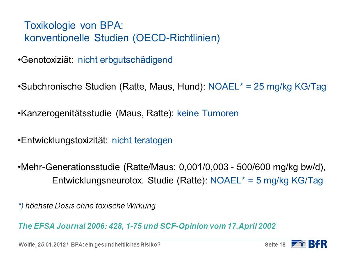 Wölfle, 25.01.2012 / BPA: ein gesundheitliches Risiko?Seite 18 Toxikologie von BPA: konventionelle Studien (OECD-Richtlinien) Genotoxiziät: nicht erbg