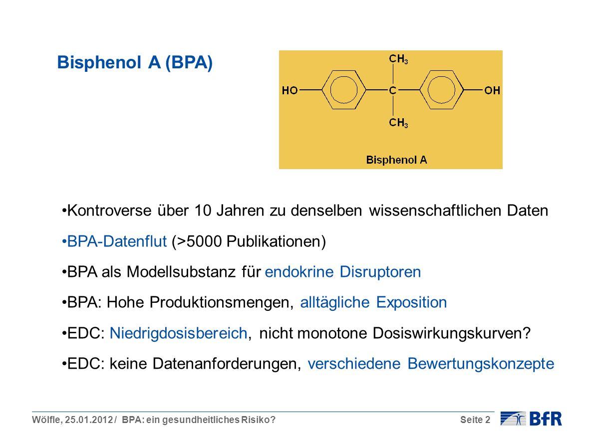 Wölfle, 25.01.2012 / BPA: ein gesundheitliches Risiko?Seite 2 Bisphenol A (BPA) Kontroverse über 10 Jahren zu denselben wissenschaftlichen Daten BPA-Datenflut (>5000 Publikationen) BPA als Modellsubstanz für endokrine Disruptoren BPA: Hohe Produktionsmengen, alltägliche Exposition EDC: Niedrigdosisbereich, nicht monotone Dosiswirkungskurven.
