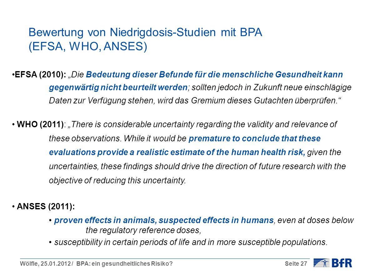 Wölfle, 25.01.2012 / BPA: ein gesundheitliches Risiko?Seite 27 Bewertung von Niedrigdosis-Studien mit BPA (EFSA, WHO, ANSES) EFSA (2010): Die Bedeutung dieser Befunde für die menschliche Gesundheit kann gegenwärtig nicht beurteilt werden; sollten jedoch in Zukunft neue einschlägige Daten zur Verfügung stehen, wird das Gremium dieses Gutachten überprüfen.