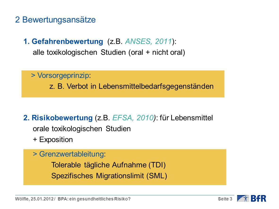 Wölfle, 25.01.2012 / BPA: ein gesundheitliches Risiko?Seite 3 2 Bewertungsansätze 1. Gefahrenbewertung (z.B. ANSES, 2011): alle toxikologischen Studie