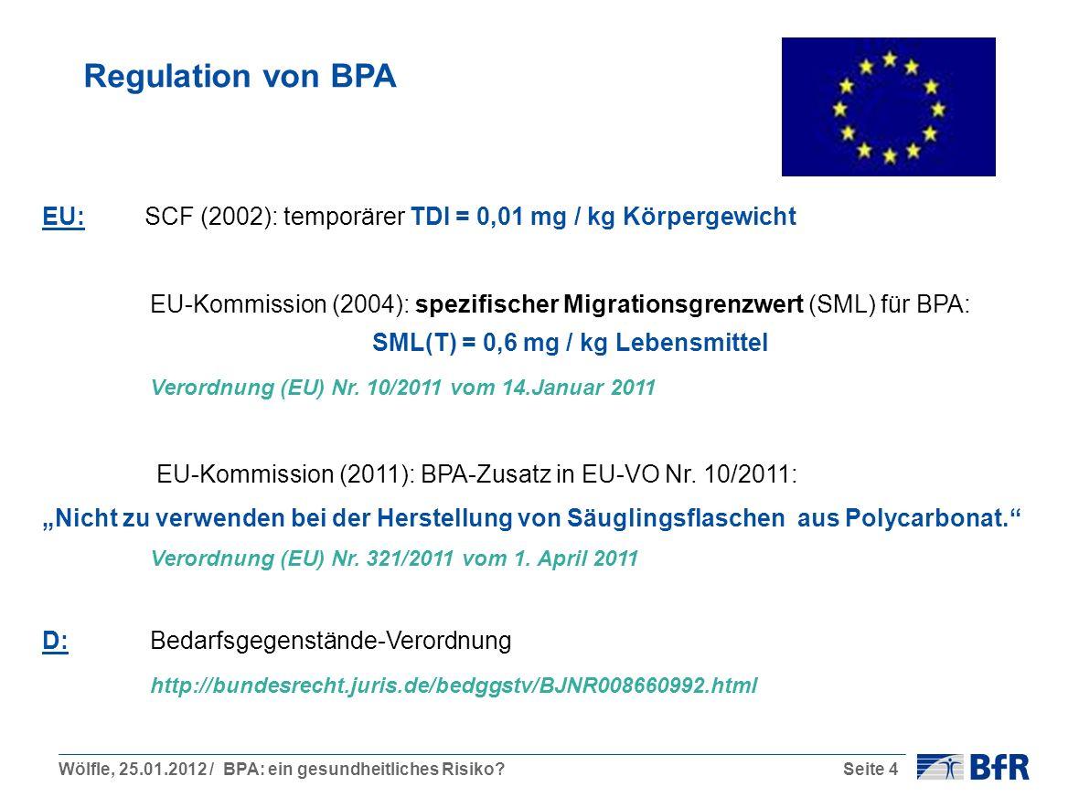 Wölfle, 25.01.2012 / BPA: ein gesundheitliches Risiko?Seite 4 Regulation von BPA EU: SCF (2002): temporärer TDI = 0,01 mg / kg Körpergewicht EU-Kommission (2004): spezifischer Migrationsgrenzwert (SML) für BPA: SML(T) = 0,6 mg / kg Lebensmittel Verordnung (EU) Nr.
